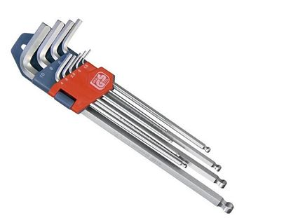Obrázok pre výrobcu Kľúče imbusové s guľôčkou predĺžené 9ks Extol Premium 8819312