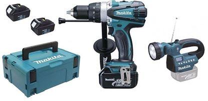 Obrázok pre výrobcu MAKITA DHP 458 RF3J + BMR 050 Aku. vŕtací skrutkovač s príklepom s Aku rádiom/LED svetlom