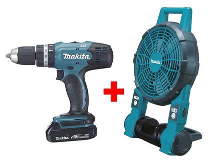 Obrázok pre výrobcu Makita DHP453SYE Akumulátorový skrutkovač + Makita DCF201Z ventilátor