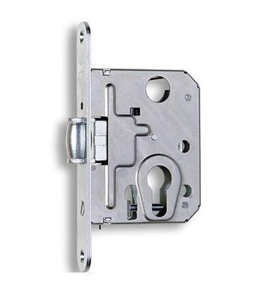 Obrázok pre výrobcu Zádlabavací dverový zámok na vložku s valčekom HOBES 2784