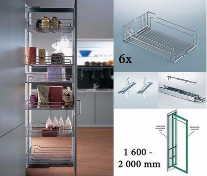 Obrázok pre výrobcu KESSEBÖHMER potravinová skriňa Dispensa 1 600 - 2 000 mm/ 300 mm 6x drôtený kôš