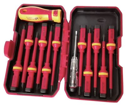 Obrázok pre výrobcu Sada elektrikárskych skrutkovačov s výmennou rukoväťou, 13 dielna