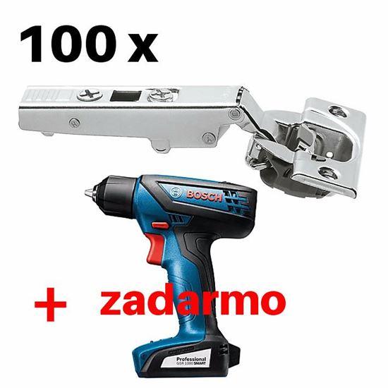 Obrázok 100 ks Naložený záves Blum CLIP top Blumotion 110° 71B3550 + Bosch GSR 1000