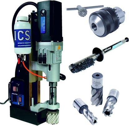 Obrázok pre výrobcu Evolution QUANTUM ME7500 Magnetická vŕtačka + Set vrtákov + Cyclone + Ecocool
