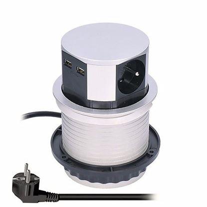 Obrázok pre výrobcu Solight PP100USB výsuvný blok zásuviek, 3 zásuvky, 2x USB