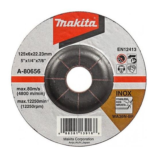 Obrázok Makita A-80656 Brúsny kotúč na oceľ (kov) 125 x 6 x 22 mm