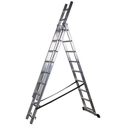 Obrázok pre výrobcu Rebrík hliníkový trojdielny nosnosť 150 kg V29609