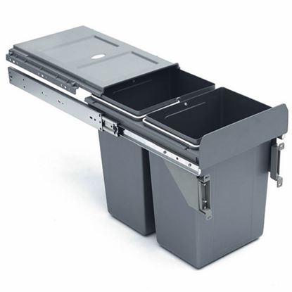 Obrázok pre výrobcu Ideal 1007168602 Výsuvný odpadkový kôš, 2 x 11 l, šedý plast na dierka 30 cm