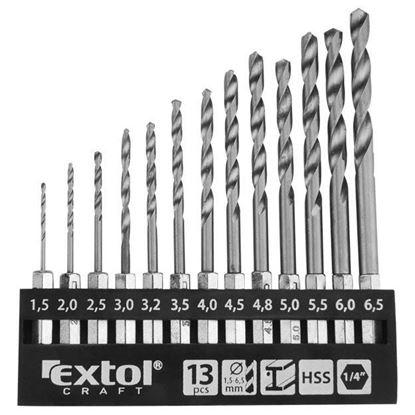 """Obrázok pre výrobcu Extol 11140 sada vrtákov do kovu 1,5 - 6,5 mm s 1/4 """" šesťhranným úchytom"""