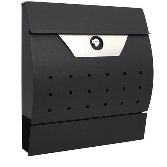 Obrázok Poštová schránka, 34 x 10 x 37,5 cm, polkruhová čierna nerezová, XL-TOOLS 2.skn8