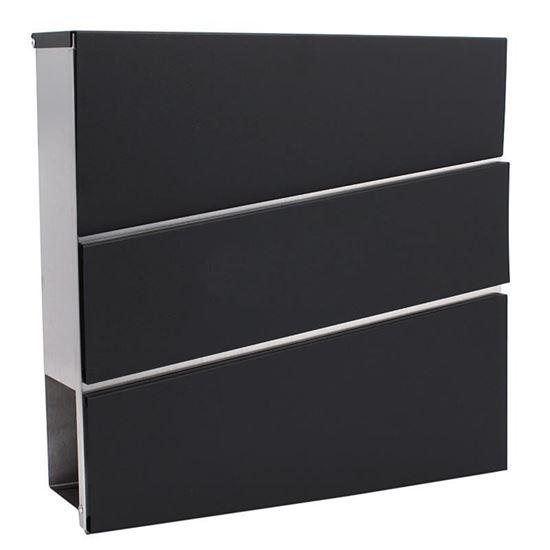 Obrázok Poštová schránka 37 x 10 x 37 cm, obbdĺžniková čierno-strieborná, XL-TOOLS 2.SKN2