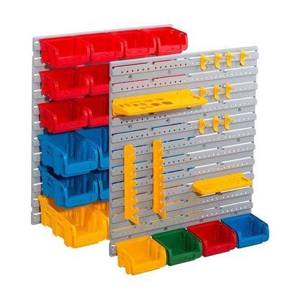 Obrázok pre výrobcu Závesné steny plastové, s držiakmi a boxy, sada 43 kusov Allit 4005187551204