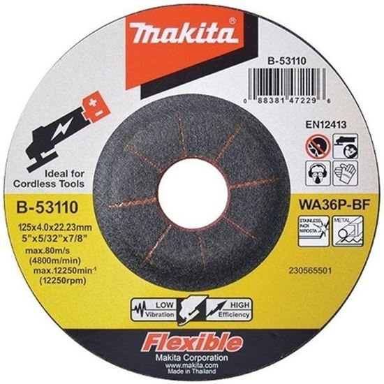 Obrázok MAKITA B-53110 brúsny kotúč na oceľ 125 x 4 x 22 mm inox
