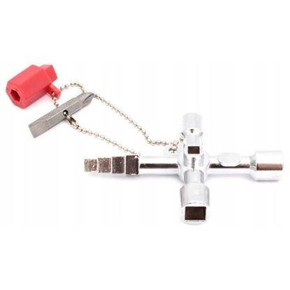 Obrázok pre výrobcu XL-TOOLS univerzálny kľúč na rozvádzacie skrine 60 x 86 mm, 4 koncovky 2.kun71