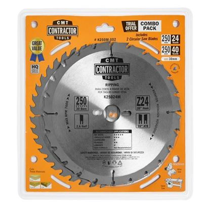 Obrázok pre výrobcu CMT Sada pílových kotúčov na drevo 250 x 30 mm, Z24+Z40 HW, 2ks C-K250M-X02