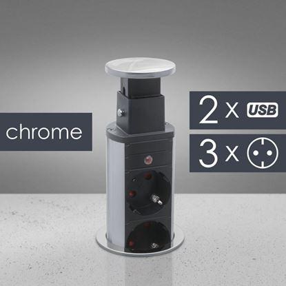 Obrázok pre výrobcu Globiz výsuvná skrytá zásuvka, chróm 2x USB 20430CU