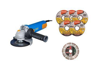 Obrázok pre výrobcu NAREX uhl. brúska EBU 125-10 65404596 + 5x B-12239 Rezný kotúč + 1x Diam. kotúč 125mm 62430700