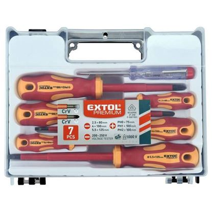 Obrázok pre výrobcu EXTOL sada elektrikárskych skrutkovačov 1000V, 7 ks, 53087