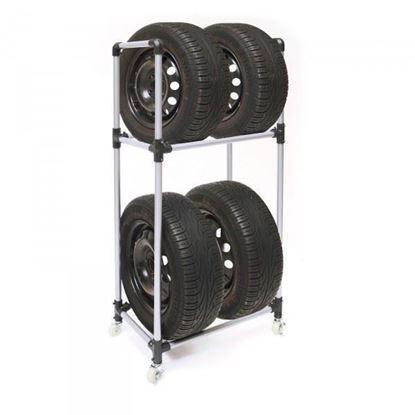 Obrázok pre výrobcu DEMA Regál / stojan na pneumatiky pojazdný 20441D