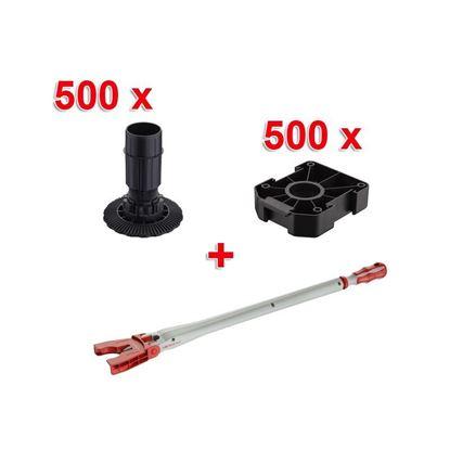 Obrázok pre výrobcu SET Häfele AXILO 500x noha 100mm + 500x príruba nohy + 1x nástroj na nastavenie výšky