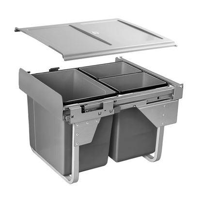 Obrázok pre výrobcu GTV odpadkový kôš 450, plnovýsuv, 20L+2x10L šedý 5561