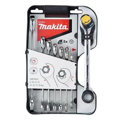 Obrázok pre výrobcu MAKITA B-65523 sada kombinovaných kľúčov, s račňovým mechanizmom na očkovej časti 8 ks