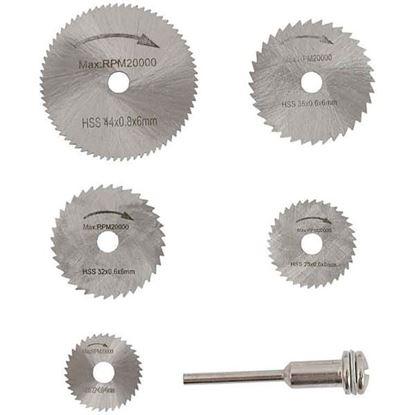 Obrázok pre výrobcu XL-TOOLS Sada MINI pílových kotúčov s priemerom 22, 25, 32, 35, 44 mm + držiak, stopka 3 mm 2.KAM26