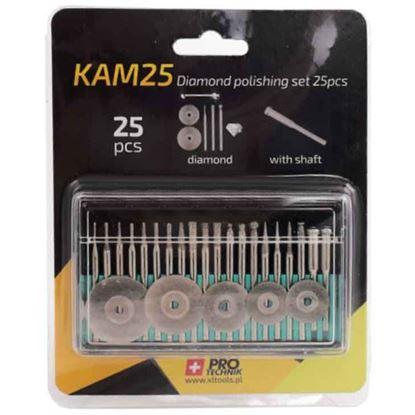 Obrázok pre výrobcu XL-TOOLS Sada diamantových fréz MINI, 25-dielna, stopka 3 mm 2.KAM25